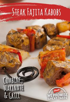Personalize these perfectly marinated steak fajita kabobs by adding your favorite veggies in between the meat!