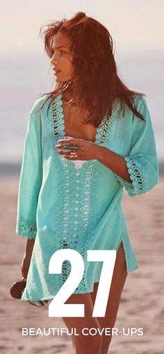 aquamarine crochet trim swimsuit cover-up Summer Wear, Spring Summer Fashion, Summer Outfits, Summer 2014, Beach Outfits, Beach Dresses, Summer Clothes, Summer Dresses, Beauty And Fashion