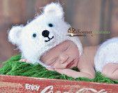 Polar Bear Hat and Diaper Cover set  Newborn photography prop