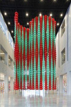 Choi Jeong Hwa Orange And Turquoise, Plastic Waste, Korean Artist, Installation Art, Red Green, Interior And Exterior, Lanterns, Entrance, Sculptures