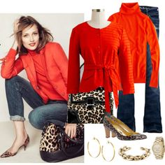 How can you not love this...two of my favorite things; leopard print and red tops!