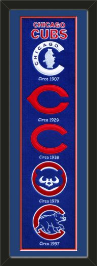 This framed Chicago Cubs heritage banner, double matted in team colors to 8 x 32 inches.  $119.99  @ ArtandMore.com