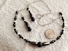 Lava Rock and Black and Silver Squares With by BeriMadeJewelry, $15.00