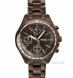 Fossil Dylan Ladies Chronograph Watch (NEW) Chocolate Brown w/ Stones, $155 MSRP
