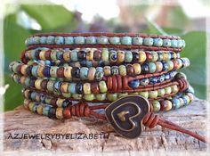DESIGNING ORIGINAL Seed Bead Leather Wrap by AZJEWELRYBYELIZABETH