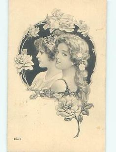 Art nouveau TWO PRETTY GIRLS WITH FLOWERS