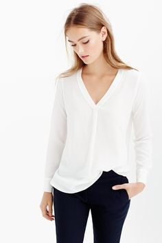 silk drapey v-neck blouse