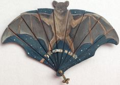 "treasures-and-beauty: "" Hand painted, exceptionally rare miniature bat fan. On thin shaved wood. Circa "" I'm a big fan of this. 1 Tattoo, Creatures Of The Night, Rocky Horror, Monochrom, Illustrations, Vintage Halloween, Halloween Carnival, Holidays Halloween, Diy Halloween"
