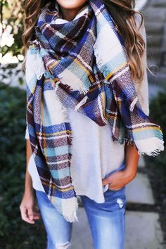 Style for over 35 ~ Plaid Blanket Scarf- Ivory/Blue/Maroon