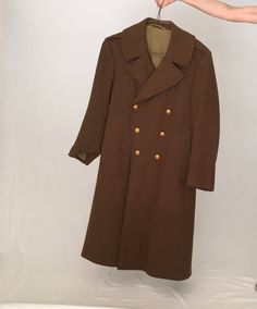 Men Vintage wool coat 42 M L/brown Pea coat overcoat/50s 1950s 20s 1920s 30s 40s 1940s coat/long double breasted military army winter coat by MadCrushVintage on Etsy