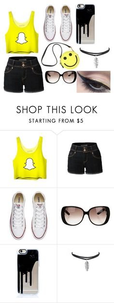 """""""Snapchat outfit"""" by mcanally ❤ liked on Polyvore featuring Betsey Johnson, LE3NO, Converse, Gucci and Mehron"""
