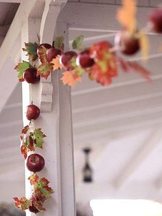 Apple & Autumn Leaves Garland (note to self: use faux apples/leaves for lasting seasonal garland)