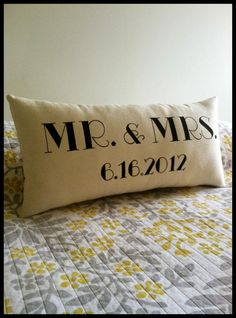 Mr & Mrs Pillow with Wedding Date by ThreeYellowFinches on Etsy, $43.00