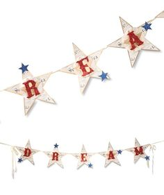 Star Dream Banner with Sparkling Glittered Red Letters and blue stars.  Show your red white and blue. Chic and Shabby 4th of July Garland.