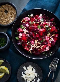 Healthy Chopped Roast Beet Salad with Lemon Zest Vinaigrette on whiteonricecouple.com
