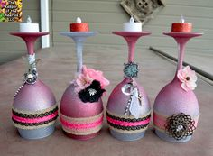 SILVER AND PINK DREAM WINE GLASS CANDLE HOLDER
