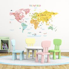 Colourful World Map Nursery Kids Wall Stickers