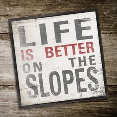 LIFE IS BETTER On The Slopes Original Alpine Graphics Illustration on wood - made to order - choose a size