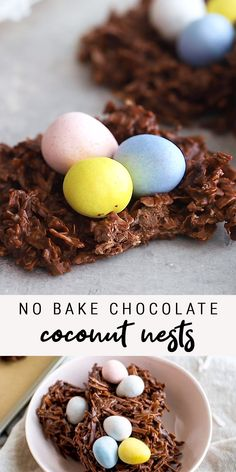 These no bake chocolate coconut nests are such an easy Easter treat only require three ingredients: shredded coconut, chocolate chips and candy eggs! Vegan and gluten-free. easter desserts recipes bird nests No Bake Chocolate Coconut Nests Holiday Treats, Holiday Recipes, Easter Recipes, Dessert Recipes, Coconut Easter Eggs Recipe, Easy Easter Desserts, Trifle Desserts, Baking Desserts, Cake Baking