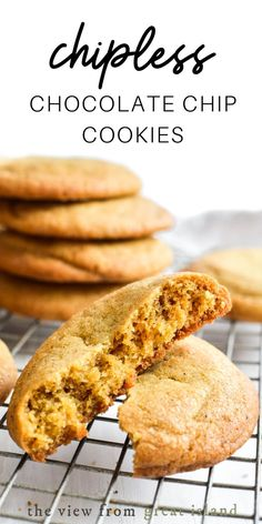 """The Perfect """"Chipless"""" Chocolate Chip Cookie if you've ever wondered if a chocolate chip cookie would be any good without the chips the answer is YES! Plain Cookie Recipe, Plain Cookies, Basic Cookies, Buttery Cookies, Yummy Cookies, Cookie Flavors, Easy Cookie Recipes, Easy Desserts, Baking Recipes"""