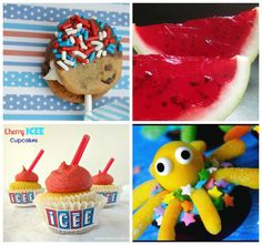 Yummy Party Food ...    Click on the Blogs for the receipe(s)    1. Patriotic Cookie Pops from A Step in the Journey  2. Watermelon Jello from Gourmet Mom on the Go  3. ICEE cupcakes from Crazy for Crust  4. Under the Sea Octopus Cupcakes from The Seven Year Cottage