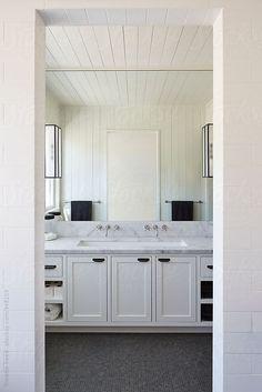 Bathroom in modern design farmhouse by trinettereed | Stocksy United