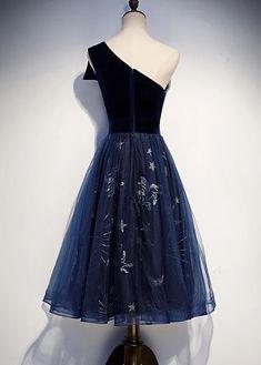 Elegant Navy Blue One Shoulder Bridesmaid Dress, Blue Wedding Party Dr – classygown Wedding Party Dresses, Prom Dresses, One Shoulder Bridesmaid Dresses, Blue Wedding, Dress Fashion, Custom Made, Navy Blue, Elegant, Collection