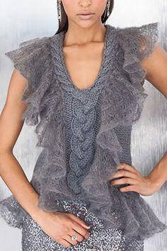 Diy Crafts - -Ravelry: 10 Ruffle Trim Vest pattern by Shiri Mor Lace Ruffle, Ruffle Trim, Lace Trim, Mode Crochet, Crochet Lace, Knitting Wool, Hand Knitting, Mohair Sweater, Jacket Pattern