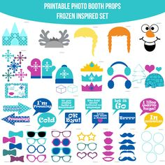 Instant Download Frozen Inspired Printable Photo Booth Prop Set — Amanda Keyt DIY Photo Booth Props & More!