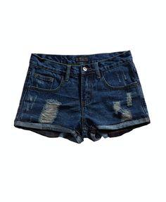 Dark Blue Denim Shorts with Rolled Cuffs and Distressed Detail Distressed Shorts, Black Denim Shorts, Blue Denim, Street Outfit, Street Clothes, Travel Clothes Women, Summer Outfits, Summer Clothes, Dark Blue