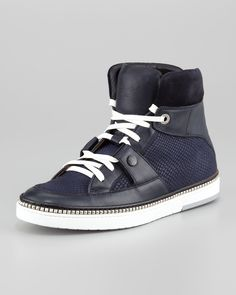 Jimmy Choo Viper-Print Leather High-Top Sneaker, Navy - Neiman Marcus