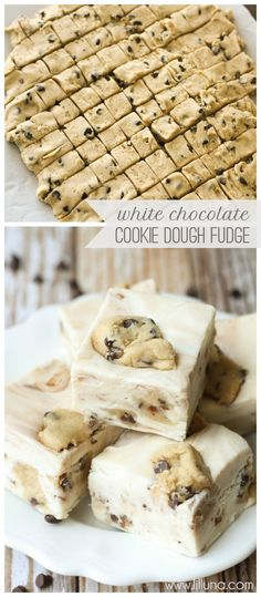 White Chocolate Cookie Dough Fudge - so, so good! Recipe on { lilluna.com }