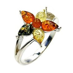 'Lotus Flower' Sterling Silver Natural Multicolor Baltic Amber Ring, Size 9  Price : $39.95 http://www.silverplazajewelry.com/Flower-Sterling-Silver-Natural-Multicolor/dp/B00OCX57JA