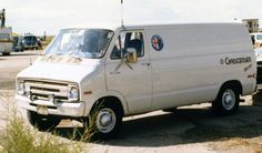 Vehicle 45 - 1976 Dodge Van - The first serious race car tow vehicle.  Finally a real van.  Purchased new from Hinckley Dodge in Salt Lake 10-18-76.  Converted with a sleeping area in back. Added an extra 45 gallon gas tank so it carried 80 gallons!.  This was during the height of the gas crisis!