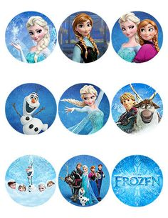 Disney Frozen Stickers - Sheet of 9- 2.5 inch Round - printable on Etsy, $4.00