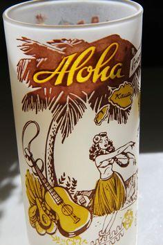 Adorable & rare - 1950s vintage Hawaiian souvenir tumblers -set of 4 plus bonus tumbler on Etsy, $38.00