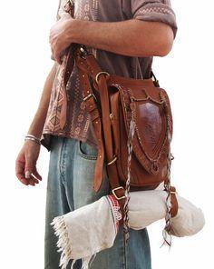TAN Leather holster, leather utility belt, festival belt, steam punk belt, tribal jungle, navaho, messenger bag
