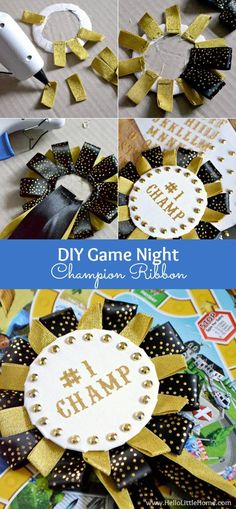 Step-by-step instructions for making an easy DIY Game Night Champion Ribbon! It's the perfect addition to family game night! | Hello Little Home (Step Father Fun)