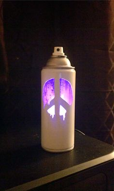 Drippy Peace Symbol  Pink LEDLit Spray Can  Metal Sculpture by Stencil Killer Art, $40.00