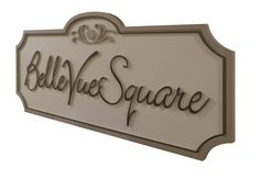Routed high density urethane sign for Belle Vue Square homes / subdivision. Strata Signs. www.customoutdoorwoodensigns.com