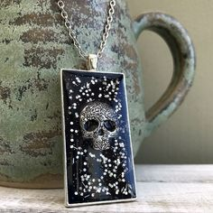 Sugar Skull Resin Pendant, Black and Silver Sparkly Necklace, Gothic Necklace, Dawn of the Dead Necklace, Skull Jewellery, Skull Pendant by nimmysjewellery on Etsy