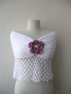 Weißer Mohair Wrap Capelet Hand gestrickte / für Hochzeiten Bräute Brautjungfern