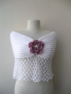 White Mohair Wrap Capelet Hand Knitted / For Weddings Brides Bridesmaids