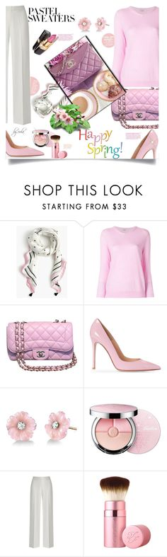 """""""So Sweet: Pastel Sweaters"""" by eula-eldridge-tolliver ❤ liked on Polyvore featuring J.Crew, Liska, Chanel, Irene Neuwirth, Guerlain and Too Faced Cosmetics"""
