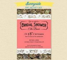 Camo Bridal Shower Invitation Lace Wedding Hunting Camouflage