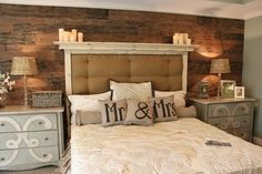 Stunning bedroom! Love the wood pallet wall. I like the idea of dressers as bed side tables... #home #decor
