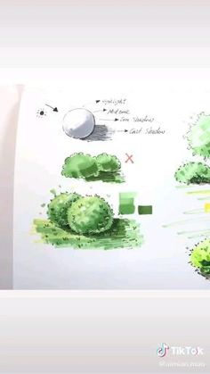 Architecture Drawing Sketchbooks, Landscape Architecture Drawing, Architecture Concept Drawings, Landscape Sketch, Landscape Drawings, Cool Art Drawings, Art Drawings Sketches, How To Draw Trees, Bush Drawing