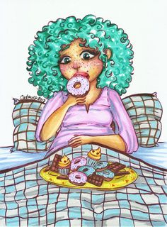 - Pms - Original artwork done with markers #pms #pmseating #pmseatingnotme #donut #donuts #cupcake #cupcakes #illustration #illustrations #markerdrawing #chameleonpens #pink