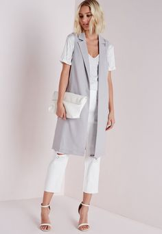 Longline Sleeveless D Ring Blazer Light Grey - Blazers - Missguided