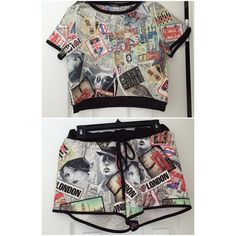printed outfit top and short size M Super Cute printed outfit top and short size M Tops Crop Tops